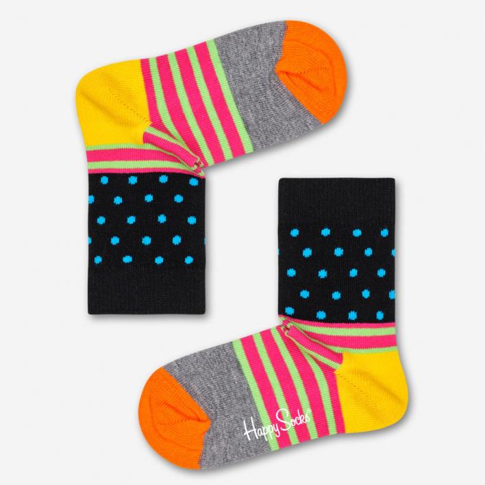 Happy Socks Kids Stripes & Dot Black Socken 0-12 Monate