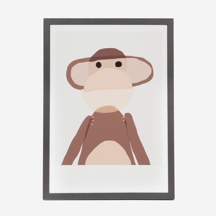Kikisoso Art Print Monkey Anthracite Frame Anthracite Frame