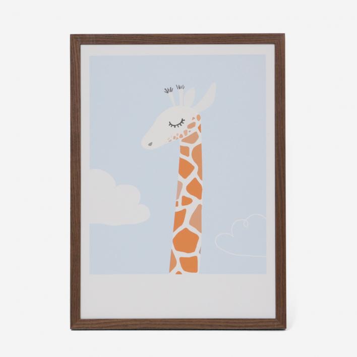 Kikisoso Kunstdruck Giraffe Rahmen Weiss