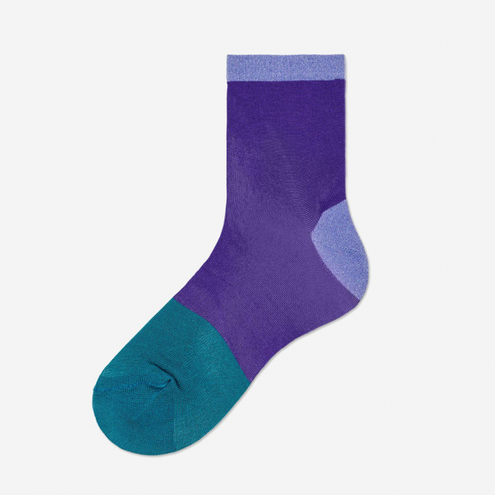 Hysteria by Happy Socks Liza Sparkle Ankle Socks - Medium Purple 36-38