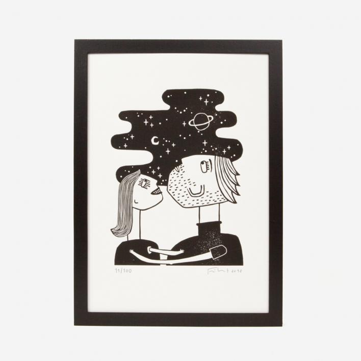 Knallbraun Lost in Love Linocut Print White Frame White Frame