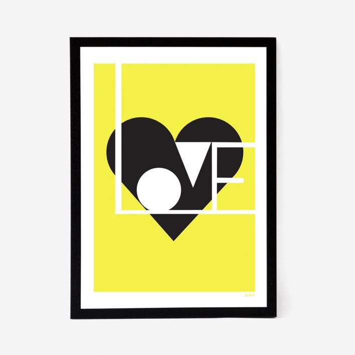 Lu West Love Artprint - Red Light Grey Frame Light Grey Frame