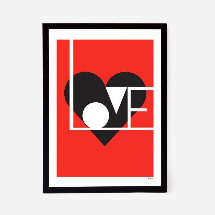 Lu West Love Artprint - Red White Frame White Frame