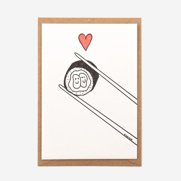 Studio Flash Love Sushi Letterpress Postkarte