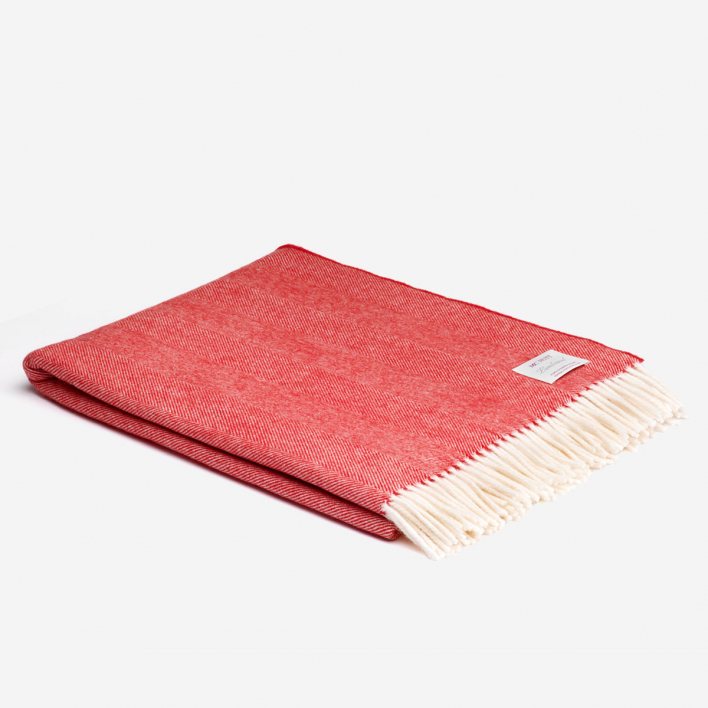 Merino Lambswool Blanket Red & Cream Heringbone Supersoft                          </a>                    </div>                    <div class=