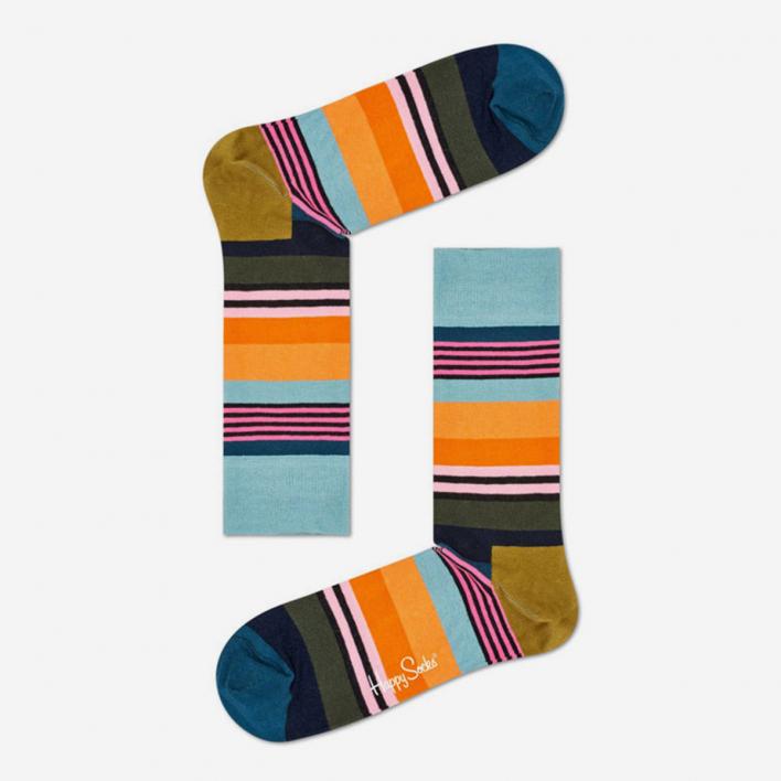 Happy Socks Multi Stripe Blue Socks