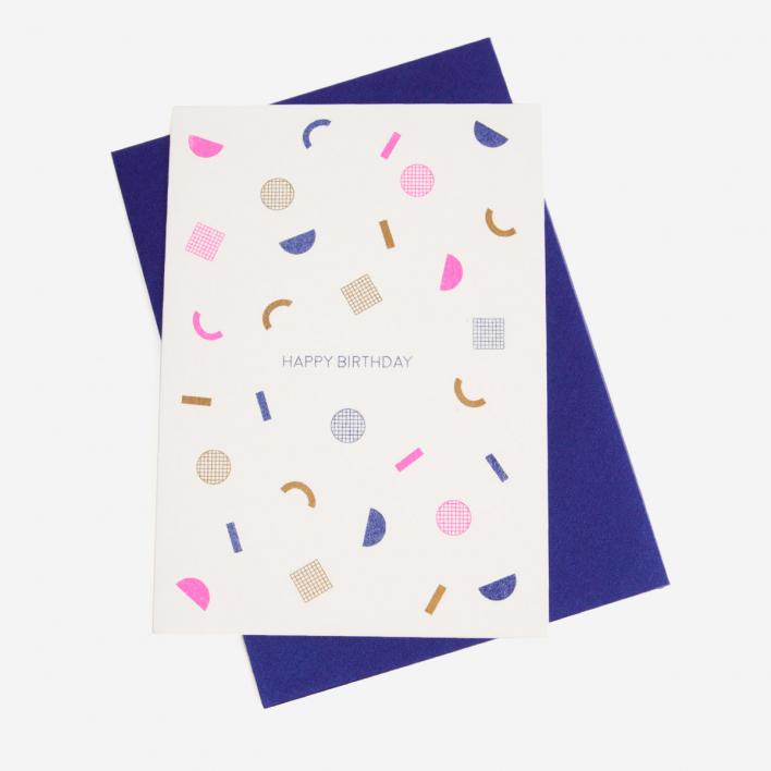 Perlenfischer Muster Happy Birthday Grußkarte