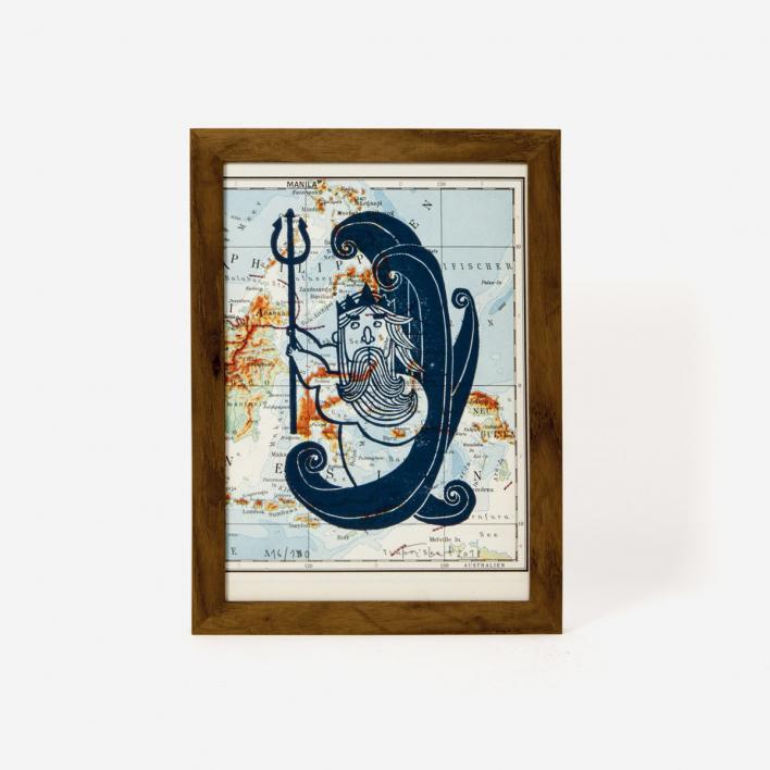 Knallbraun Neptun  on Map Linocut Print