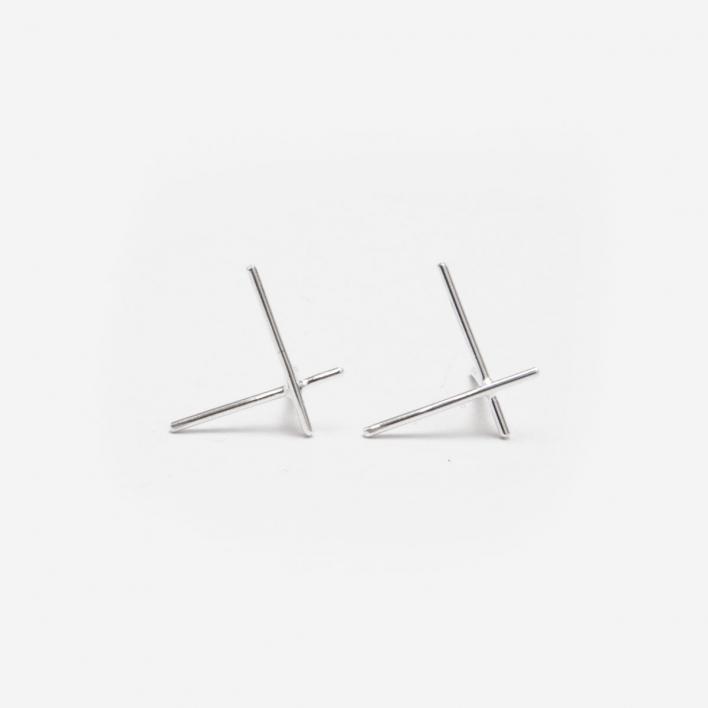Saskia Diez Ohrringe Wire Cross Big - Silber 925