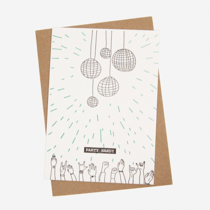 Studio Flash Party Hardy Letterpress Postcard