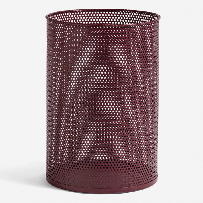 HAY Perforated Tin Bin L Burgundy