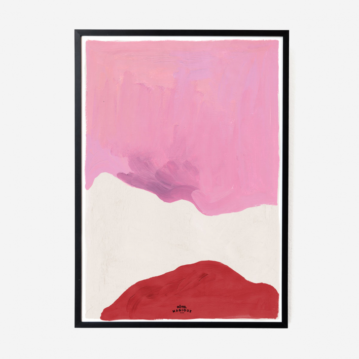 Hôtel Magique Pink White and Red Art Print - A2 Rahmen Weiss
