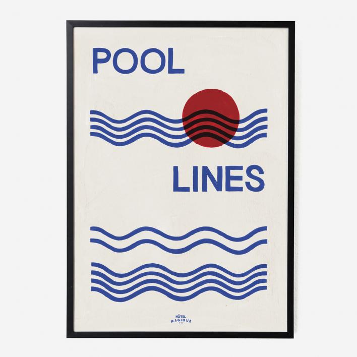 Hôtel Magique Pool Lines Art Print - A1
