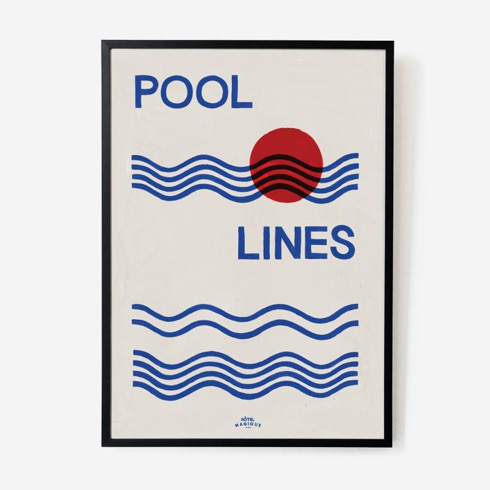 Hôtel Magique Pool Lines Art Print - A2