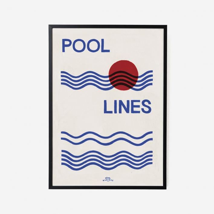 Hôtel Magique Pool Lines Art Print - A3