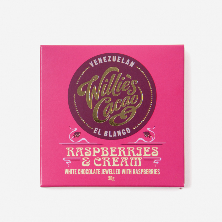 Willie's Cacao Raspberries & Cream Weisse Schokolade 50g
