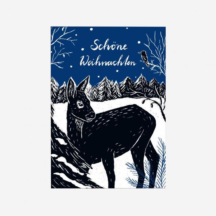 Katja Rub Deer Christmas Postcard
