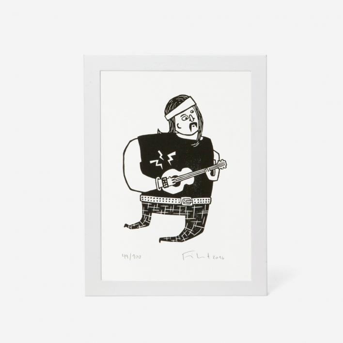 Knallbraun Rockstar Linocut Print  White Frame White Frame