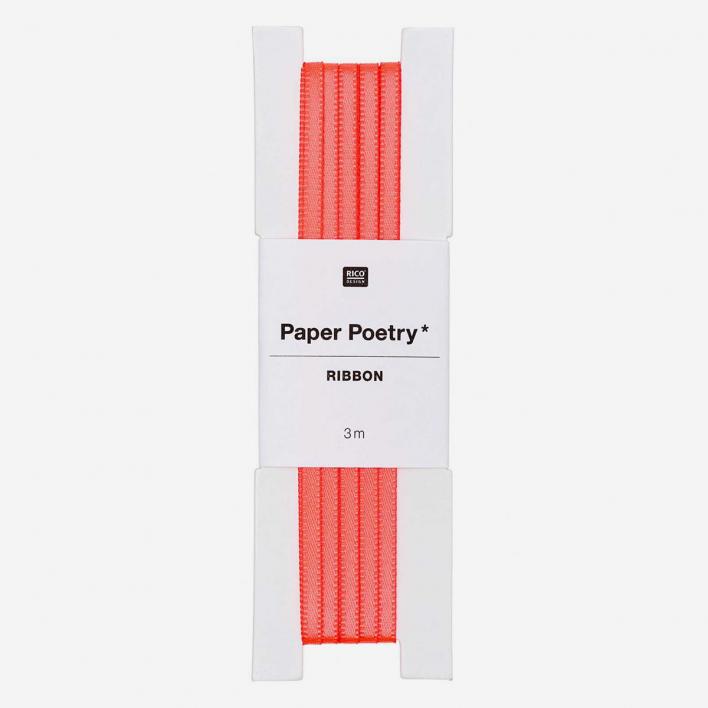 Paper Poetry Satin Gift Ribbon Neon Orange - 3 mm