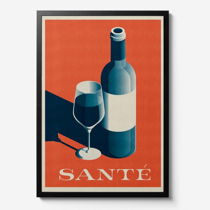 Telegramme Paper Co. Santé Wine Print - Giclée Kunstdruck White Frame White Frame