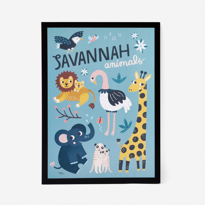 Michelle Carlslund Illustration Savannah Animals Kunstdruck Poster Rahmen Lichtgrau