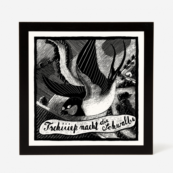 Janta Island Swallow Screenprint Black frame Black frame