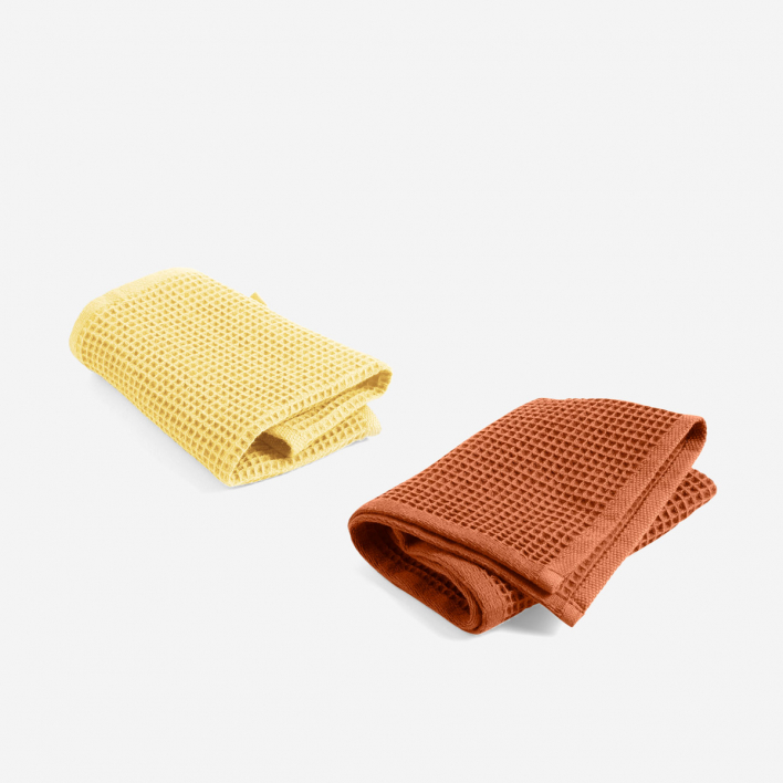 HAY Spültücher Waffle Terracotta & Yellow 2er Set