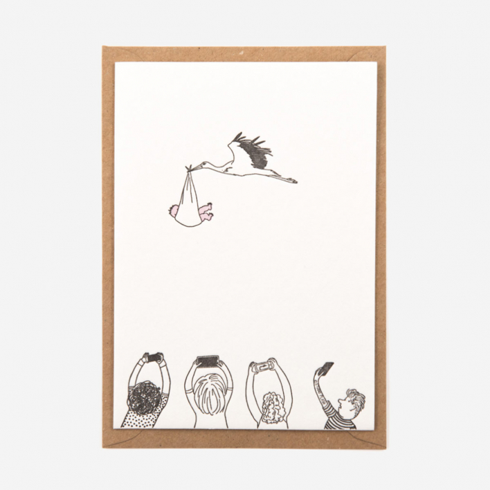 Studio Flash Stork with Baby Letterpress Postkarte