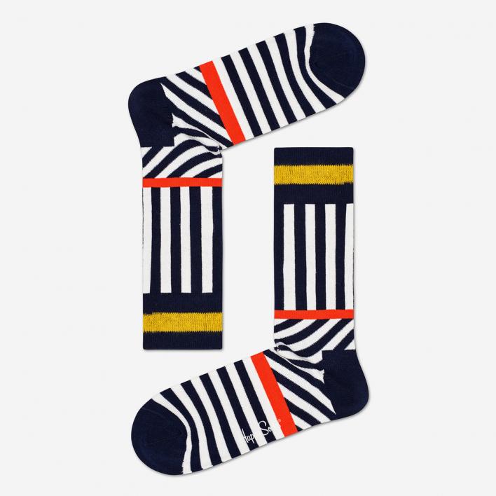 Happy Socks Stripes and Stripes Black Socken 41-46