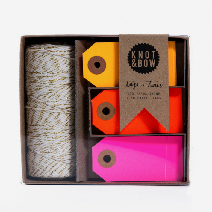 Knot & Bow Tag & Twine Box Gold / Warm Neon