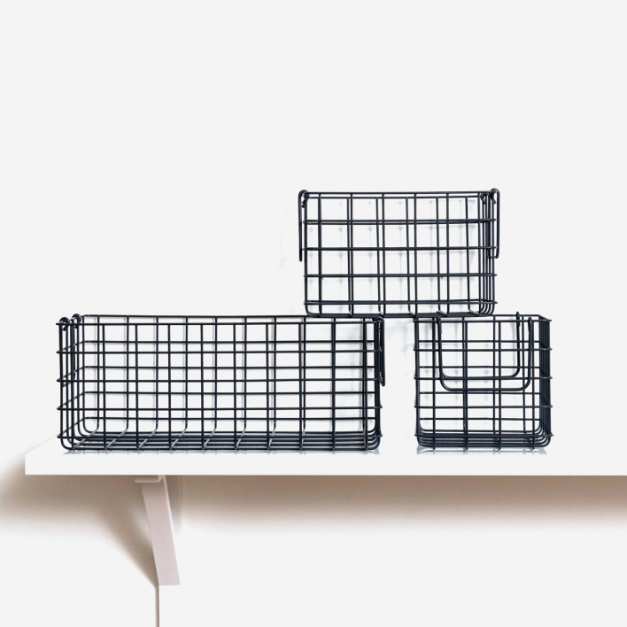 mustard The Baskets Set mit 3 Körben Slate