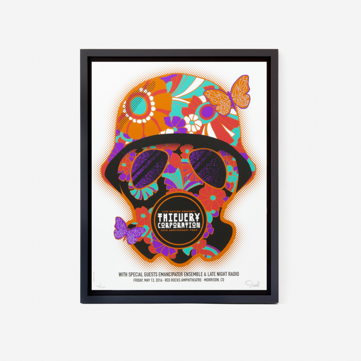 Dan Stiles Thievery Corporation gasmask Siebdruck Gigposter
