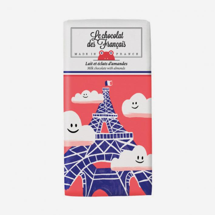 Le Chocolat Des Francais Tour Eiffel Nuages 41% Bio-Schokolade mit Mandeln 30g