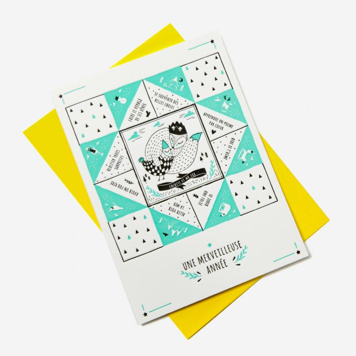 Letterpress De Paris Une Merveilleuse Année New Year Greeting Card