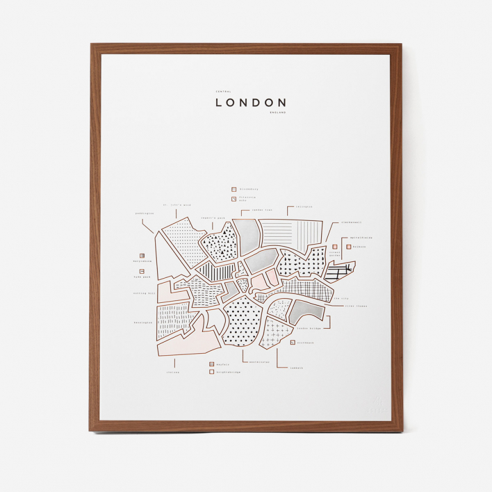 42 Pressed Co. Visual Guide London Letterpress Druck Rahmen Esche Dunkel