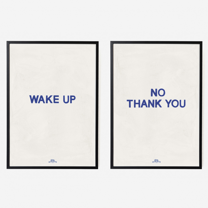 Hôtel Magique Wake Up No Thank You Art Print Double - A3 Rahmen schwarz