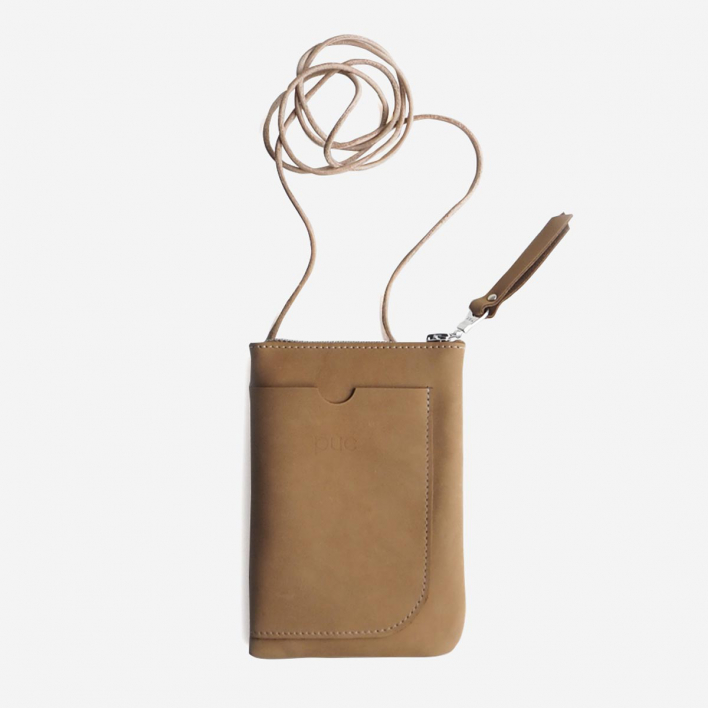 Puc Walk & Talk Cognac Leather Cell Phone Bag