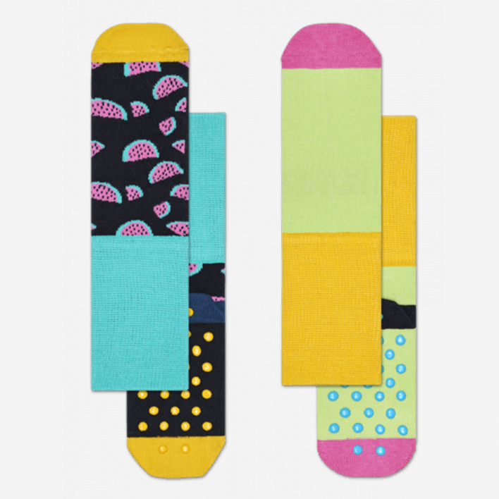 Happy Socks Kids Watermelon Anti-Slip Socken Schwarz 2-Pack