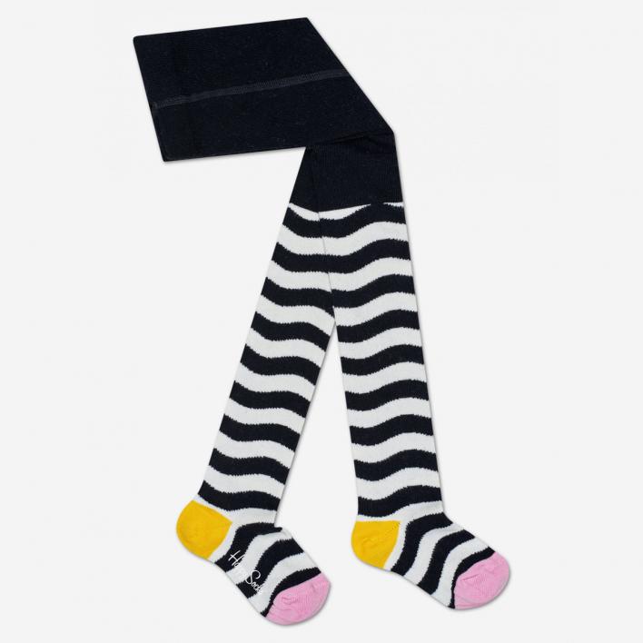 Happy Socks Kids Wavy Stripe Schwarz Strumpfhose