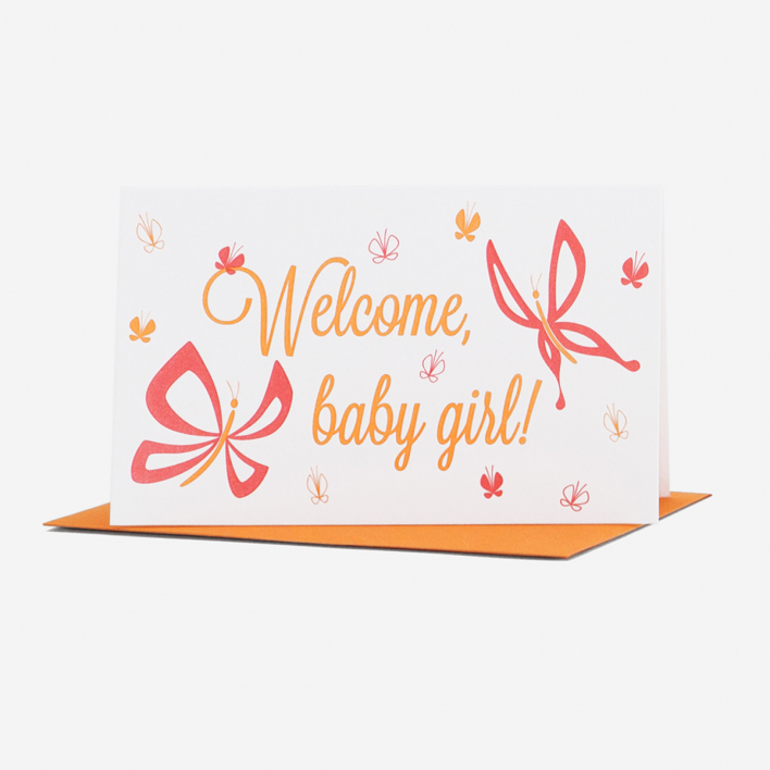 Anemone Letterpress Welcome Baby Girl Greeting Card