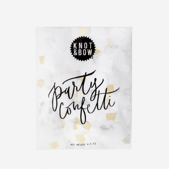 Knot & Bow White Metallic Party Confetti Bag