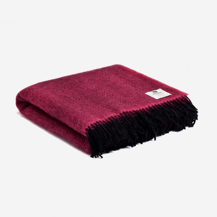 McNutt of Donegal Pure Wool Blanket Herringbone - Fuchsia
