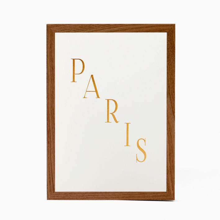 Katie Leamon Paris - Druck mit Heissfolienprägung Rahmen Weiß