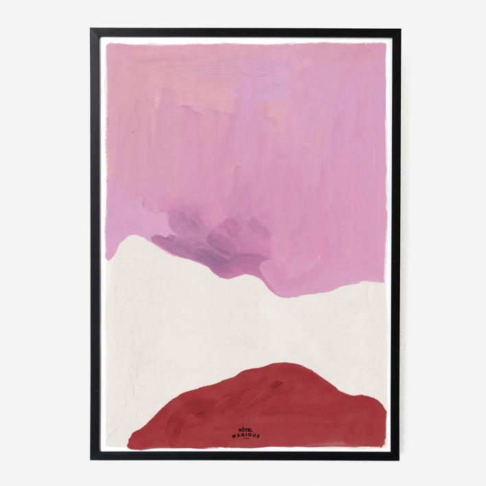 Hôtel Magique Pink White and Red Art Print - A1 Black frame Black frame