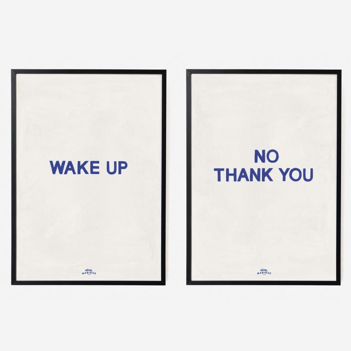 Hôtel Magique Wake Up No Thank You Art Print Double - A4 Black frame Black frame