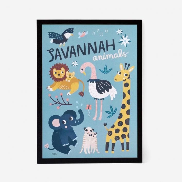 Michelle Carlslund Illustration Savannah Animals Kunstdruck Poster Rahmen Lichtgrau