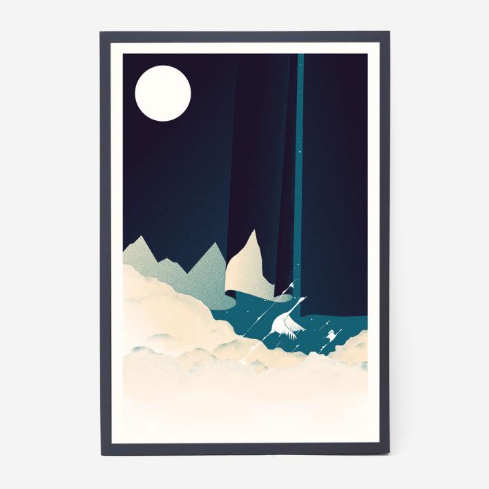 Zum Heimathafen The Road Is Long Screenprint Poster - Blue Black Frame Black Frame