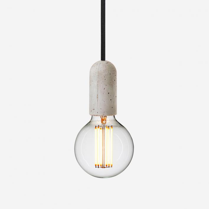 NUD Collection Lampenfassung Concrete mit Textilkabel Schwarz