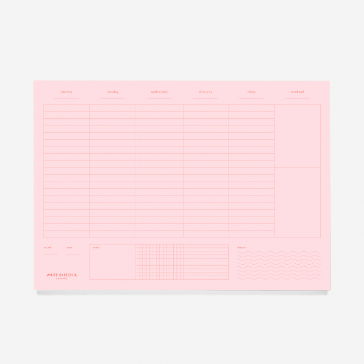 Write Sketch & Weekly Planner Pink + Red Block