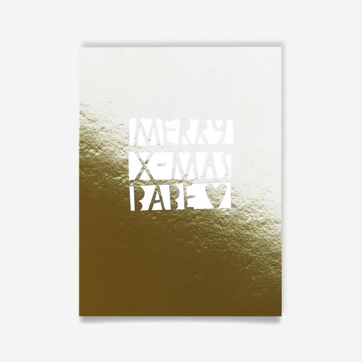 Knallbraun Weihnachtspostkarte Merry X-Mas Babe